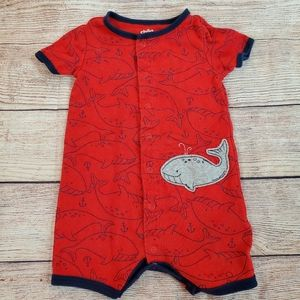 Child of Mine by Carter's Red Whale Print Romper